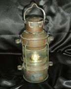 Vintage Antique Ships Lantern Maritime Light Oil Lamp Anchor Copper And Brass 12