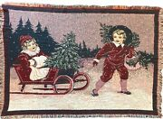 Christmas Tapestry Throw Blanket Children Sleigh In The Snow Afghan 46andrdquo X 65andrdquo