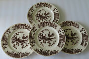 4 Williamsburg Rooster Toile Brown Transfer Farmhouse Style 11 Dinner Plates