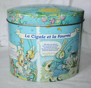 Vintage 90's La Fontaine's Fables Delacre Cookie Tin The Ant And The Grasshopper