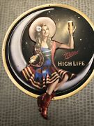 Miller High Life Metal Tin Sign Crescent Moon Lady On The Moon Used 16.5 X 19 In