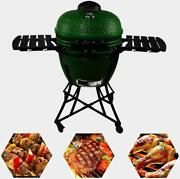 24in Round Ceramic Charcoal Grill Orange Kamado Style Energy Saving Outdoor Bbq