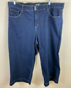 Terra And Sky Womens High Rise Dark Wash Cropped Jeans Blue Stretch Plus Size 26