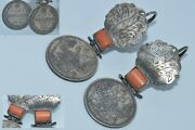 Antique Imperial Russian Silver 84 Stone Salmon Coral Earrings Coins Handmade
