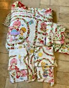 Vintage Strawberry Shortcake Bedspread, Curtains, And Sheets Set Jc Penney Twin