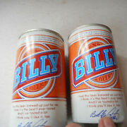 2 Billy Beer Cans Vintage 12 Oz Opened Pull Tab With Billy Carter Autograph