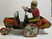Vintage Marx Tin Wind Up Cowboy Woopee Car Nice And Works
