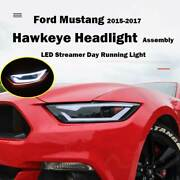 For Ford Mustang 2015-2017 Led Hawkeye Headlight Assembly Day Running Light 2pc