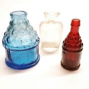Vintage Wheaton Nj Mini 3 Red Glass Bitters Bottle Grapes Blue And Clear Lot