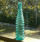 Pretty Teal Color 1874 Dated E.r.durkee 13 Ring 6 Sided Peppersauce Bottle Mint