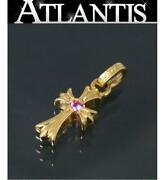 Chrome Hearts Ginza Store 22k Baby Fat Cross Charm 2p Pink Sapphire Gold