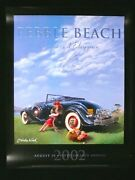 Signed 2002 Pebble Beach Concours Poster 1933 Cadillac Lone Cypress Nicola Wood