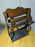 Antique Folding Wood Umbrella Cane Rack Stand Dupree Embalming Fluid Co. Funeral