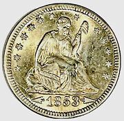1853 Seated Liberty Quarter, Choice Ms, Rose--gold Toning, Uncertified