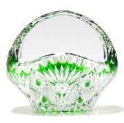 Old Baccarat 19th Century Diaman Piery Green Cover Decoration Bowl Accessory