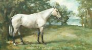 Large Early 20th Century Portrait Of A Dapple Grey White Horse By Lionel Ellis