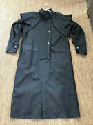 Sydney Oilskin Clothing Co Black Lo Rider Duster Trench Coat Wax Size L