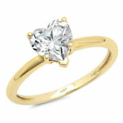 1 Ct Heart Cut Genuine Cultured Diamond Stone 18k Yellow Gold Solitaire Ring