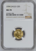1994 5 1/10 Oz Gold Eagle Ngc Ms70 Relatively Rare Have A Look And Buy Me
