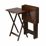 Set Of 4 Foldable Tv Tray Snack Tables Solid Wood Space Saving Portable Brown