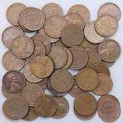 1952 Lincoln Wheat Cent Roll 50 Circulated Pennies Us Coins