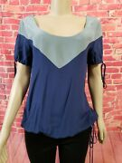 Geren Ford 100 Silk Blue Top Size Large Short Sleeve Retail 379