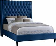 Modern Navy Color Queen Size Bed Set Deep Button Tufting Brass Nailhead
