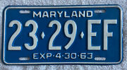 Good Solid Vintage 1963 Maryland License Plate See My Other Plates