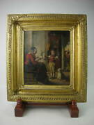 Antique 19th Century England Painting The Boy Who Helps With Winding Oil Western