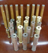 Lot Of 28 Vintage Factory Textile Mill Bobbins Antique Spools And Spindles.