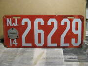 1914 New Jersey Porcelain License Plate