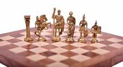 Chess Set Brass Sculpted Pieces In Ancient Roman Style 16 Wooden Folding Board
