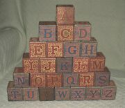 30 Vintage Victorian Childrenand039s Alphabet Wooden Blocks Early 1900and039s Or Prior