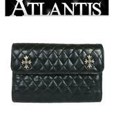 Chrome Hearts Ginza Store Wave Wallet Quilted Long Double Ch Plus Razor Silver