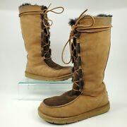 Ugg Whitley Moccasin Tall Boots Womens Size 7 Sheepskin Suede Leather Lace Brown