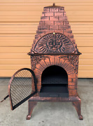 Outdoor Pizza Oven Wood Burning Fireplace Barbecue Grill Stove Patio Heater Bbq