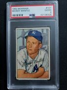 1952 Bowman Mickey Mantle Psa 2. A Beauty Clean And Well Centered