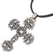 Chrome Hearts Philly Cross Small With Vail Pendant Scroll Tip Leather Blade
