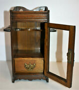 Antique Edwardian Oak Smokers Cabinet With 2 Pipe Racks, Drawer And Makers Mark