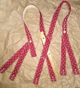 Civil War Suspenders Blood Red And Blue Sewn On Period Hand Crank Sewing Machine