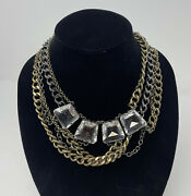 J.crew Mixed Metal Multi-chain And Crystals Necklace Heavy Statement Bib