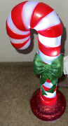 Blow Mold Candy Cane With Bow And Glitter Christmas Decor 14andrdquo Vintage Style