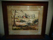 Mid Century 1954 Water Color Painting Signed Jean Johnstone