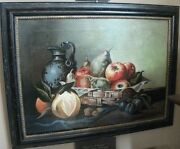Fruit Flowers Basket Still Life C1910 Antique Estate Oil Painting Ready To Hang