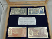 Bank Of Israel 1969 3rd Series Banknotes,4 Rectangle Silver Medals 110x55mm +box