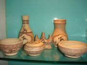 Exquisite Set Of Chinese Traditional Hand-painted Pottery Stationary In Study