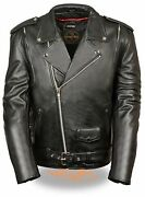 Menand039s Vented Traditional Motorcycle Jacket W/ Old School Lapel - Riders Jacket