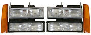 New Replacement Headlight 6-pc Set / For 1988-93 Gmc Truck And 1992-93 Suvs