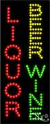 """New """"liquor Beer Wine Vertical 27x11 Solid And Animated Led Sign W/options 21039"""