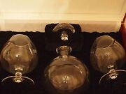 Moser Fine Clear Crystal Decanter And Brandy Snifter Glasses Set